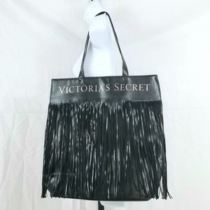 Victoria's Secret Black Fringed Tote Bag